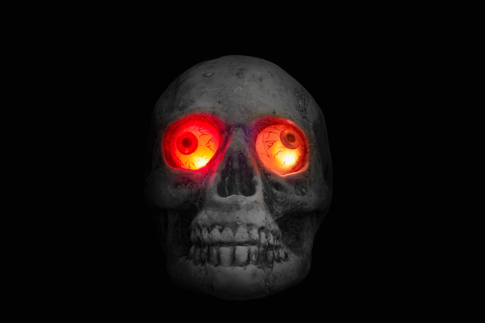 glowing skull table spooky