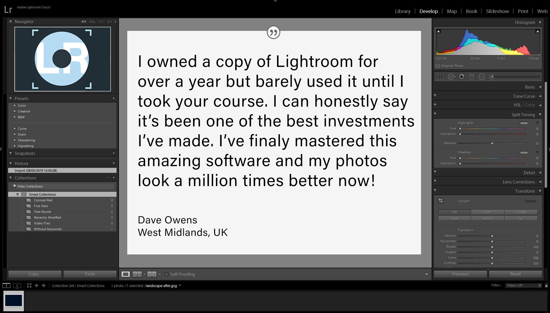 LR Screenshot testimonials dave