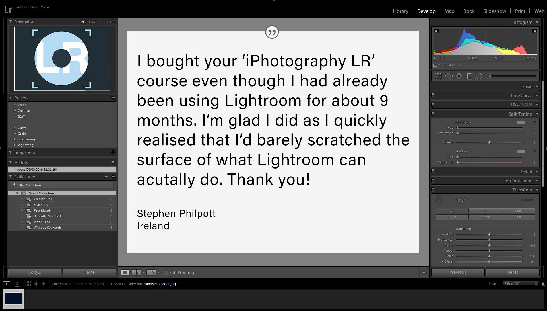 LR Screenshot testimonials stephen
